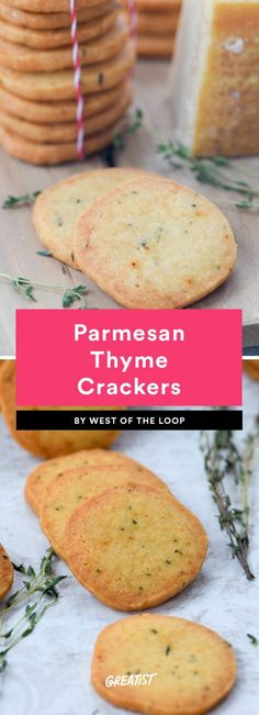 7 Homemade Cracker Recipes That Take Snacking to the Next Level Parmesan Thyme Crackers Healthy Crackers, Homemade Crackers, Homemade Cheese, Snacks Homemade, Parmesan Crackers Recipe, Cheese Cracker Recipe, Thyme Recipes, Herb Recipes, Broccoli Recipes