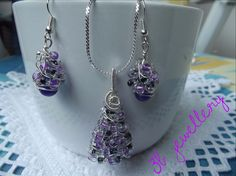 #purple #fantasy #jewellery #set of #pendant and #earrings , #tree #shaped , #silver #plated #wire and #clear , #violet and #black beads #3bjewellery #wirewrapping #intermediate #picoftheday