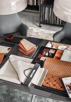Minotti Moodboard #textile #leather #marble #wood