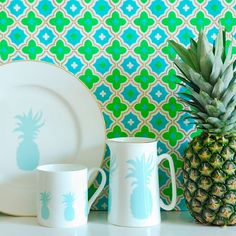 Hold onto the summer in spite of the rain with tropical tableware by Alice Peto