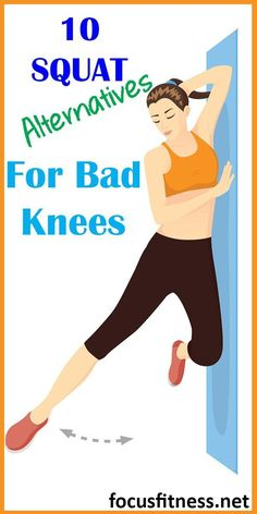 10 At-Home Squat Alternatives for Bad Knees - Focus Fitness - Knee Strengthening Exercises, Thigh Exercises, Back Exercises, Stretches, Leg Workout At Home, Best Workout Plan, At Home Workouts, Workout Plans, Butt Workouts
