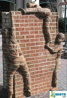 Post with 576 votes and 6580 views. Some kids climbing a brick wall. Art Mural 3d, 3d Wall Art, Stained Brick, Kids Climbing, Brick Art, Brick In The Wall, Brick Design, Wall Design, Monuments