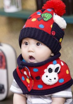 ce800eb1b3d 2014 hot sale Child dot pocket rabbit muffler scarf hat twinset for 3  months and 3 yeas old Children