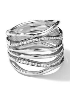 Sterling Silver Multi-Band Ring with Diamonds (0.32ctw) by Ippolita at Neiman Marcus.