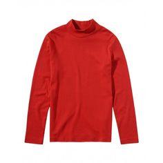 T-shirt maniche lunghe, in cotone colorato, collo alto con finitura a costina.3AY1C2454 RED