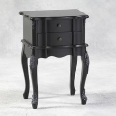 Antique Black Square 2 Drawer French Style Bedside