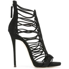 Giuseppe Zanotti Design Suede Zoey sandals ($525) ❤ liked on Polyvore featuring shoes, sandals, black, black sandals, black suede sandals, suede sandals, suede shoes and high heel stilettos