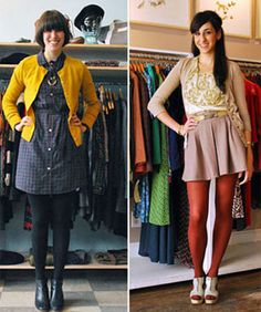 Fall. Right side : High waisted mini with patterned blouse, cardigan sweater, tights and cute pumps