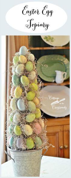 Fácil de hacer bricolaje jardinería ornamental Pascua huevo    Cottage en la encrucijada