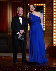 New York City Mayor Michael Bloomberg and actress Sigourney Weaver perform onstage at The 67th Annual Tony Awards at Radio City Music Hall on June 9, 2013 in New York City.