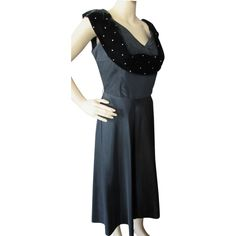 Cocktail Dress in Black Taffeta with Black Velvet and Rhinestone Cowl Mid-Century