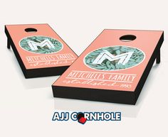 """Monogram Family Leaf"" Cornhole Set Product Details | AJJ Cornhole"