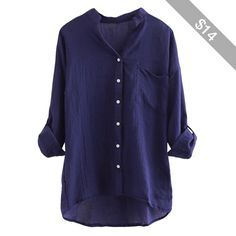 Navy Blue Stand Collar Plain Button Three Quarter Sleeve Ladies Blouse