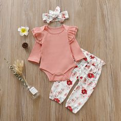 Baby Girl Pretty Pink Ruffled Shoulder Bodysuit and Floral Pants with Headband Set – Products - Baby Clothes Baby Outfits Newborn, Baby Girl Newborn, Toddler Outfits, Baby Boy Outfits, Kids Outfits, Baby Girls, Vintage Baby Clothes, Cute Baby Clothes, Infant Girl Clothes