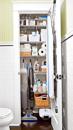 cleaning closet Your Biggest Closet Problems, Solved: 15 Storage Solutions to Try Today Broom Closet Organizer, Linen Closet Organization, Organization Ideas, Cleaning Cupboard Organisation, Cleaning Supply Storage, College Organization, Cleaning Supplies, Small Closet Storage, Closet Shelves
