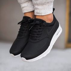Nike Air Max Thea Black Premium Leather Sneakers •The Nike Air Max Thea Women's…