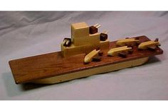 Wooden Toy Aircraft Carrier - Wood Toy Boats