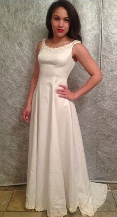 4ba337334 Items similar to Beautiful Handcrafted 1990 s Wedding Dress Off White on  Etsy