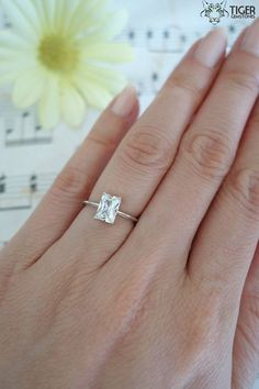 1 Carat Emerald Shape, Radiant Cut, Engagement Ring, Man Made Diamond Simulants, Wedding Ring, Bridal Ring, Promise Ring, Sterling Silver