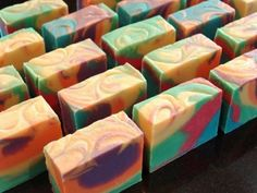 Handmade soaps! I love this swirly tie-dyed look.
