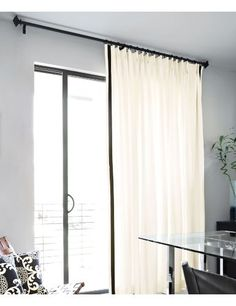 Large single panel of curtains for sliding glass door