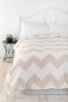 Zigzag Duvet Cover  #UrbanOutfitters AND I LOVE THE WHITEWASHED FLOORS