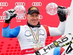 """© Christian Einecke (CEPIX) / Didier Cuche mit Bestzeit beim Abfahrtstraining in Schladming / www.Skiweltcup.TV / Didier Cuche: """"Ich habe versucht zu pushen und die Zeit gibt natürlich auch Selbstvertrauen für morgen. Der Beste soll gewinnen und Spaß muss es machen. Die Chancen für die kleine Weltcupkugel sind da, aber Klaus ist ein richtiger """"Rennhund"""" und wird das morgen sicher runter """"drücken"""". Ich muss mein Rennen fahren und er sein Rennen. Am Ende rechnen wir dann ab."""""""