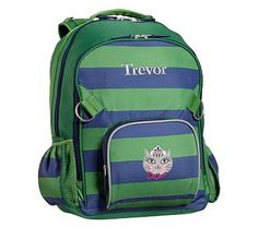 Fairfax Large Backpack Stripe Green/Navy with Navy Trim Kitty