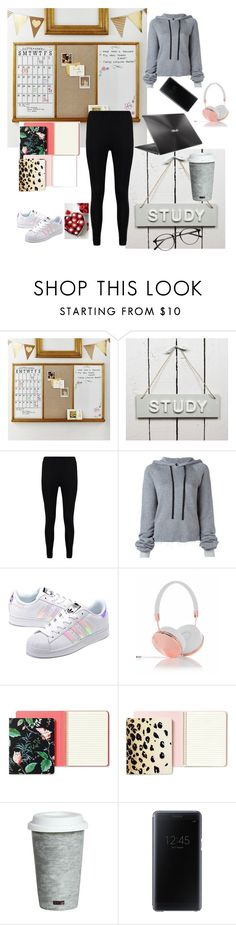 """studiyng all day!✏☕"" by maria143sara ❤ liked on Polyvore featuring PBteen, Boohoo, Unravel, adidas Originals, ASUS, Frends, Kate Spade, Fitz & Floyd and Samsung"