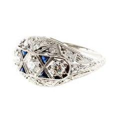 Old European Diamond Spahhire Platinum Dome Ring