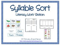 Syllable Sort Literacy Work Station Segmenting syllables in words is an important step in developing phonemic awareness. This syllable sorting activity provides pictorial support for. Literacy Work Stations, Education And Literacy, Sorting Activities, Kindergarten Literacy, Classroom Activities, Reading Skills, Teaching Reading, Learning, Teaching Ideas