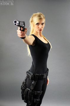 Kayla Gun Pose Reference STOCK V by PhelanDavion on DeviantArt