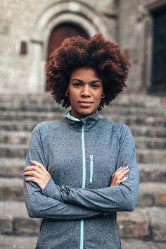 Stock photo of Portrait of a young african american woman wearing sports clothes. Urban Fitness, African American Women, Portrait Photo, Black History, Sport Outfits, Winter Hats, Stock Photos, Hoodies, Sweaters
