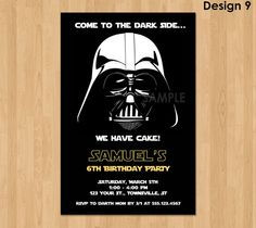 Star Wars Invitation - Make their birthday special with this unique Birthday Party Invitation featuring Darth Vader!! This listing is for one