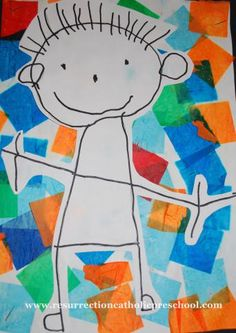 Preschool Self Portraits in marker on tissue paper collage.