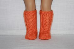 hand knit socks, orange cable socks, 18 inch doll clothes, by UpbeatPetites on Etsy