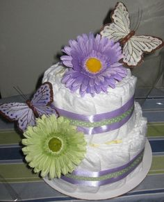 "Billie's Babycakes 2 tier ""Lilac and Green Butterflies"" Diaper Cake. Find me on Facebook for lots more! :)"
