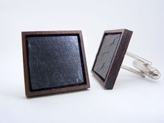 Slate + wood cufflinks with sterling silver plated cufflinks. Grooms cufflinks.