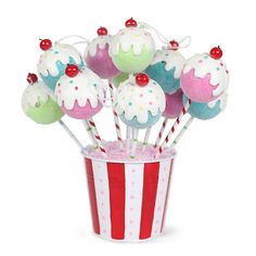 Cake Pop Ornaments from Tinsel and Twirl by Bakerella, via Flickr