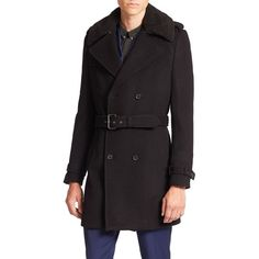 The Kooples Wool-Blend Trench Coat ($820) ❤ liked on Polyvore featuring men's fashion, men's clothing, men's outerwear, men's coats, apparel & accessories, black, mens double breasted trench coat, mens trench coat, mens double breasted coat and mens fur collar coat