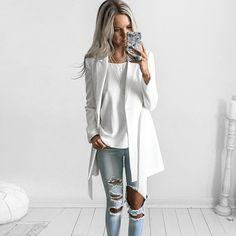 YNZZU New OL Belt long suit blazer femme Spring cool slim white ladies blazer Women coat jacket casual outwear Mujer YO116-in Blazers from Women's Clothing & Accessories on Aliexpress.com | Alibaba Group