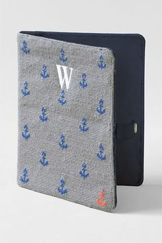 Needlepoint iPad case with monogram via Land's End. Preppy Handbook, Nautical Fashion, Nautical Style, Iphone Case Covers, Ipad Covers, Buy Iphone, Delta Gamma, Monogram Styles, Apple Ipad