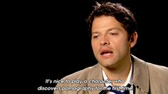 """""""It's nice to play a character who discovers pornography for the first time."""" - Misha about Castiel <---he is such a funny man. ;P"""