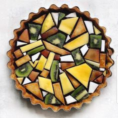 Classic lemon tart with a blueberry layer. Topped with tessellated fruit design…. Classic lemon tart with a blueberry layer. Topped with tessellated fruit design. Food Design, Design Ideas, Creative Food, Food Presentation, Food Art, Eat Cake, Food Inspiration, Love Food, Sweet Recipes
