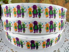 Barney 7/8 printed grosgrain ribbon for Hairbow by fancypaper, $1.25