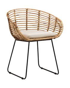 The Pablo Dining Chair by Dovetail is part an eclectic range of handmade furniture, accessories and textiles. Iron legs in black finish Handwoven rattan frame Loose cushion , seat height 18 Rattan Dining Chairs, Rattan Furniture, Handmade Furniture, Living Room Chairs, Cool Furniture, Furniture Design, Lounge Chairs, Office Chairs, Dining Room