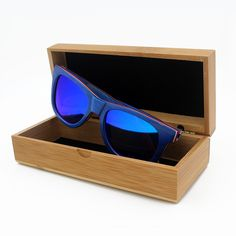 Newest Skateboard Wood Sunglasses Women Men Polarized Driving Sun Glasses with Box Blue Frame Mirror Gafas De Sol Mujer Hombre