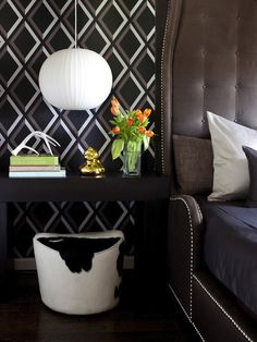 black brown diamond pattern wallpaper chunky espresso console table nightstand milk chocolate tufted tall headboard bed silver nailhead trim Ikea Stockholm Footstool - Cowhide
