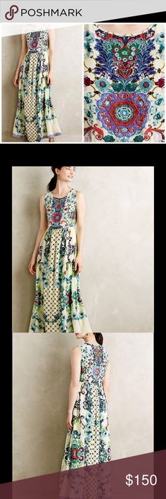 Anthropologie beaded and embroidered gown🌻 Never worn. Gorgeous and elegant. New w tags. Can update pics upon request. help me pay off my student loans ahhhh 🙈 Anthropologie Dresses Maxi