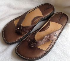 92b2f791ed5e Born Sandals Thong Flip Flop Metallic Bronze Brown Leather Upper Size 8    39 EUC